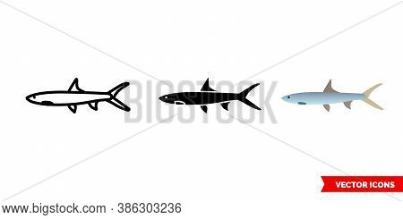 Ladyfish Icon Of 3 Types Color, Black And White, Outline. Isolated Vector Sign Symbol.