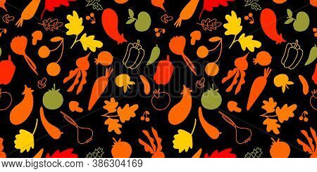 Seamless Pattern With Drawn Vegetables. Autumn Harvest. Vegetarian Healthy Food Vector Texture. Brig