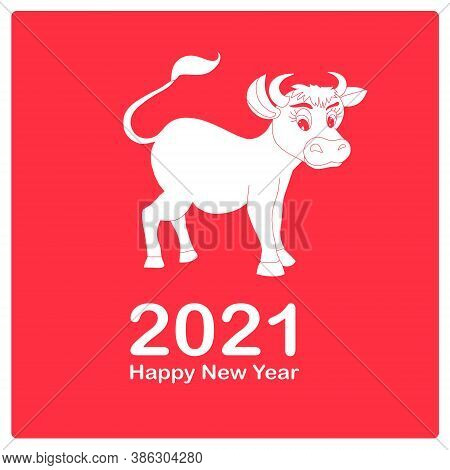 Happy New Year 2021 Banner. Art Flat Design Stock Vector White Siluethe On Red Illustration For Web,