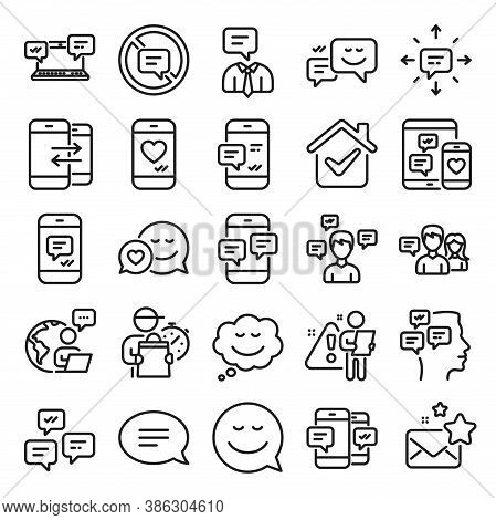 Message Sms And Communication Icons. Group Chat, Conversation And Speech Bubbles Icons. Sms Communic
