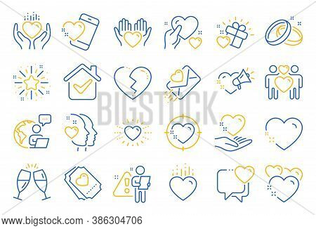 Love Line Icons. Gift Box, Broken Heart And Romantic Letter. Wedding Rings, Glasses With Champagne,