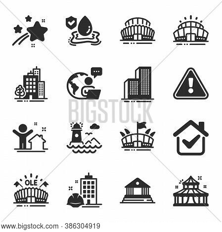Set Of Buildings Icons, Such As Construction Building, Buildings, Circus Symbols. Sports Stadium, Sp