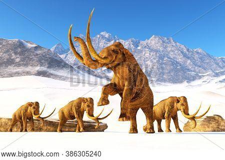 Columbian Mammoth Elephant 3d Illustration - A Herd Of Columbian Mammoths Navigate Their Way Through
