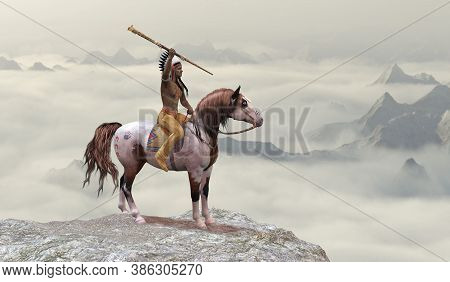 Indian Leaping Bear 3d Illustration - An American Indian In Warbonnet Rides His War Pony To The Top
