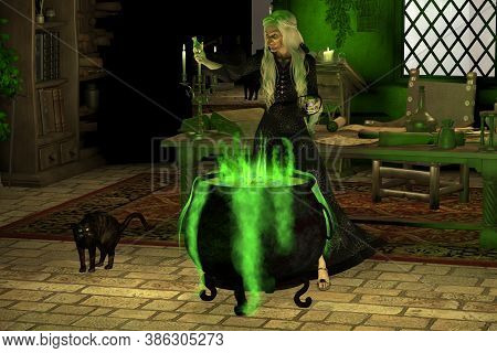Halloween Witch 3d Illustration - A Witch Considers Whether Or Not To Put Toad Phlegm Juice Into Her