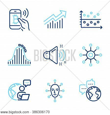 Technology Icons Set. Included Icon As Multichannel, Demand Curve, Dot Plot Signs. Bitcoin Pay, Loud
