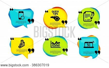 Signing Document, Investment And Tutorials Icons Simple Set. Speech Bubble With Quotes. 3d Chart, Re