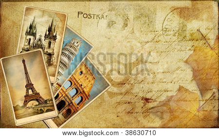 vintage post cards bavkgoiund with place for text or photo