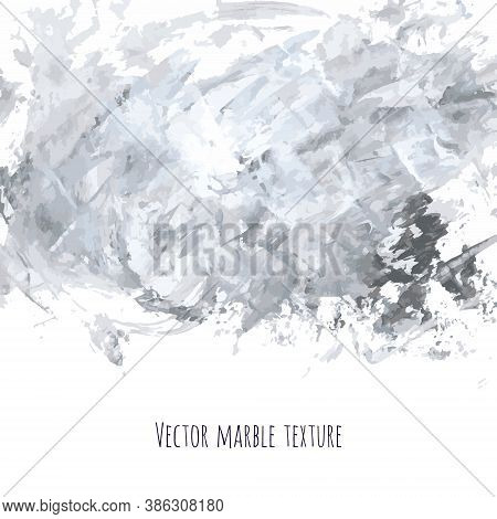 White, Gray, Black Vector Scribble Marble Watercolor Texture Background. Abstract Acrylic Smudge Bac