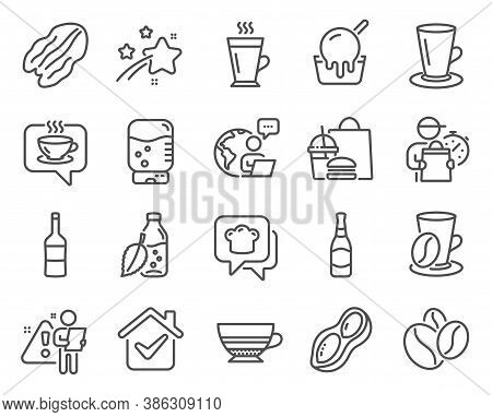 Food And Drink Icons Set. Included Icon As Pecan Nut, Beer Bottle, Peanut Signs. Ice Cream, Coffee C