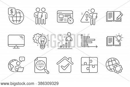 Web Timer, Feedback And Survey Line Icons Set. Computer, Globe And Idea Gear Signs. Product Knowledg