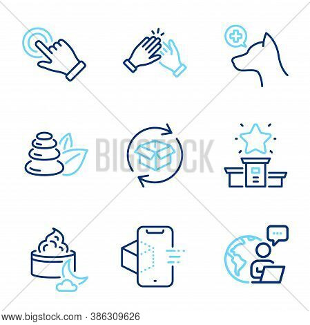 Business Icons Set. Included Icon As Return Parcel, Clapping Hands, Night Cream Signs. Touchscreen G