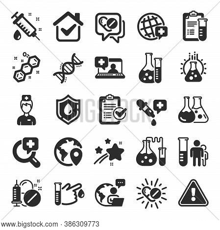 Medical Healthcare, Doctor Icons. Drug Testing, Scientific Discovery And Disease Prevention Signs. C