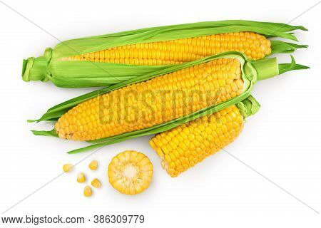 Ear Of Corn Isolated On A White Background. Clipping Path. Top View. Flat Lay