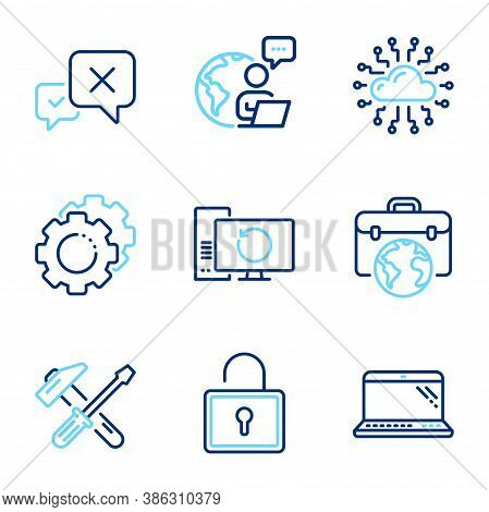 Technology Icons Set. Included Icon As Businessman Case, Settings Gears, Cloud Network Signs. Lock,