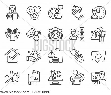 People Icons Set. Included Icon As Smile Chat, Presentation Time, Presentation Signs. Sunny Weather,