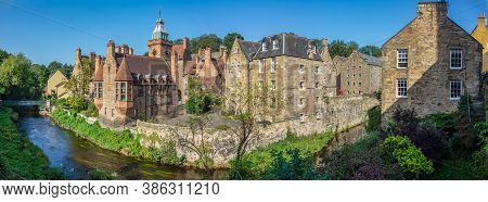 Panorama Of The Water Of Leith As It Winds Through The Historic Dean Village In Edinburgh