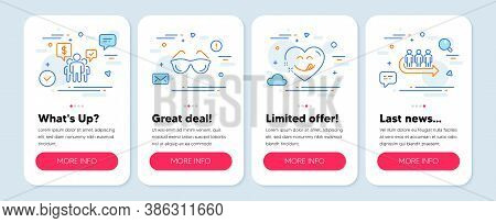 Set Of People Icons, Such As Teamwork, Eyeglasses, Yummy Smile Symbols. Mobile Screen Mockup Banners