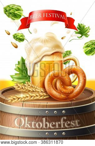 Vector 3d Lager Beer Glass Pretzel And Sausage