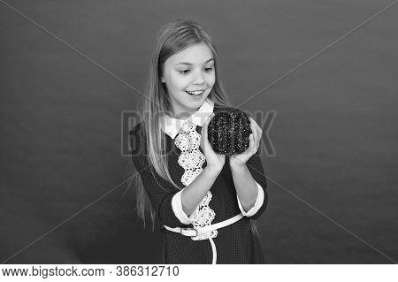 School Party. Child Hold Shimmering Decor Ball. Festive Decor Concept. Beautiful Decor. Christmas Pa