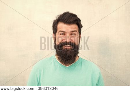 Happy Face. Hipster Appearance. Beard Fashion And Barber Concept. Perceptions Of Male Beauty Around