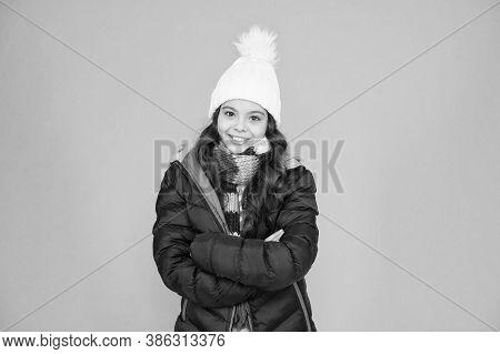 Child In Padded Warm Coat. Seasonal Fashion. Winter Holidays. Fashion Girl Winter Clothes. Fashion T