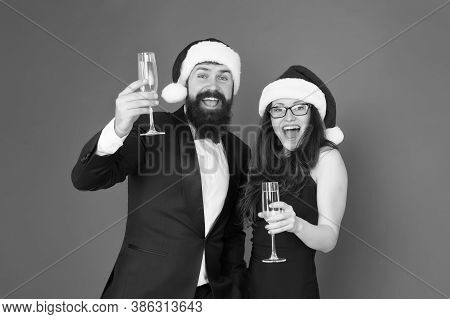Office Party. Couple At Corporate Party. Happy New Year. Bearded Businessman In Tuxedo And Girl Eleg