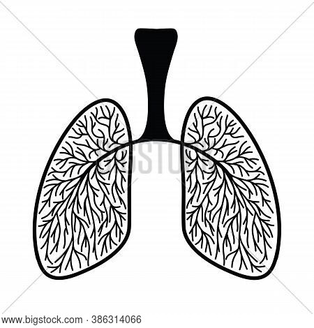 Human Lungs, Schematic Illustration Of Human Lungs With Blood Vessels. Sketch Drawing Linart Clipart
