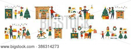 Toys Store At Christmas Time Bundle Of Scenes With Flat People Characters. Parents With Kids Shoppin
