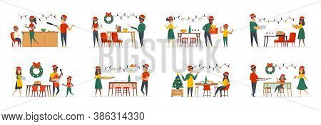 Christmas Dinner Bundle Of Scenes With People Characters. People Celebrating Christmas Or New Year A