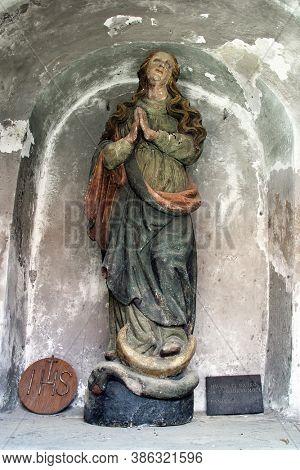 LOBOR, CROATIA - APRIL 02, 2013: Our Lady statue at Our Lady of the Mountain Church in Lobor, Croatia