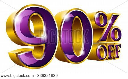 90% Off - Ninety Percent Off Discount Gold And Violet Sign. Vector Illustration. Special Offer 90 %