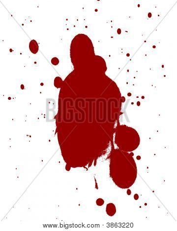 red blood splatter on a white background poster