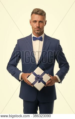 Delivering Happiness. Womens Day. Valentines Day. Gentleman Delivering Gift. Handsome Man With Wrapp