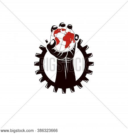 Raised Human Arm Surrounded By Engineering Cog Wheel Holds Earth Globe, Vector Illustration. Totalit