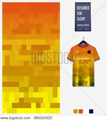 Fabric Textile Design In Orange Checkered Pattern For Soccer Jersey, Football Kit, Bicycle, Racing,