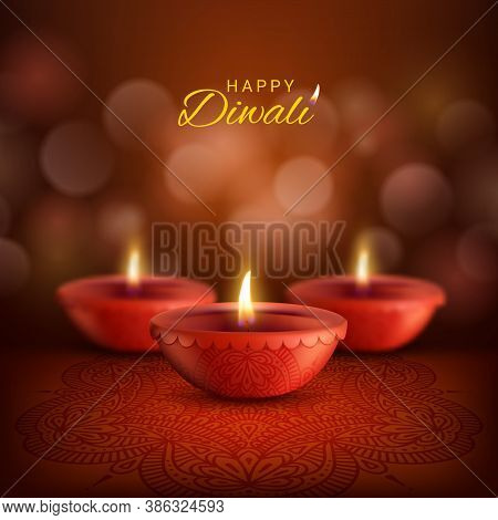 Diwali Diya Lamps Vector Design Of Deepavali, Indian Hindu Religion Festival Of Light. Red Clay Oil