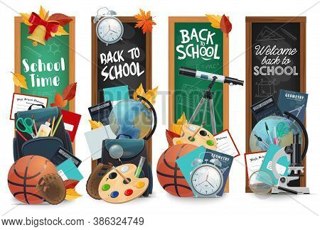 Education Chalkboards With Back To School Lettering Isolated Vector Banners Set. Green And Black Bla
