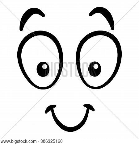Cartoon Face. Expressive Eyes And Mouth, Smiling, Crying And Surprised Character Face Expressions. C