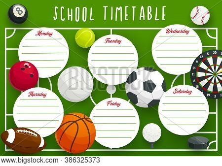 School Timetable Schedule Vector Template Of Education Planner With Sport Frame Background. Study Pl