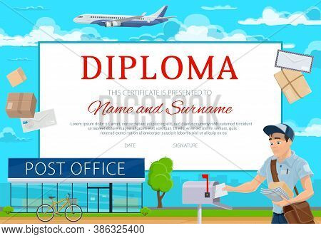 Education Diploma For School Or Kindergarten. Cartoon Vector Frame, Certificate With Postman Deliver