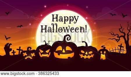 Happy Halloween Vector Banner. Scary Pumpkin Jack Lanterns On Night Cemetery With Zombie Hand, Creep