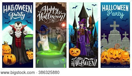 Halloween Party Banners With Vector Horror Holiday Pumpkins, Witch, Vampire And Ghosts, Bats, Moon,