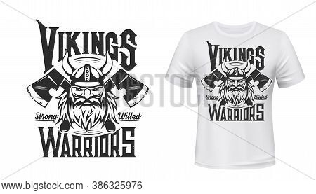 Viking Warrior Tshirt Print, Scandinavian Vector Nordic Medieval Knight. Man With Beard And Horned H