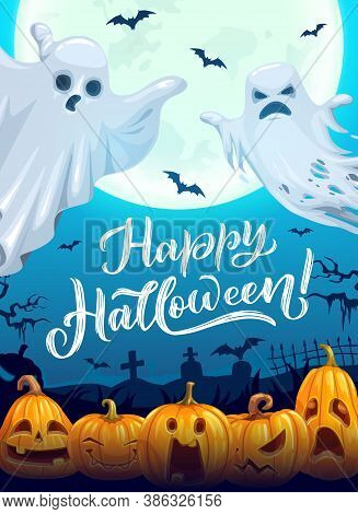 Halloween Poster With Cartoon Ghosts. Vector Greeting Card With Spooks, Flying Bats And Jack-o-lante