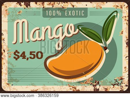 Mango Rusty Metal Plate, Tropical Fruits Food Farm Market Price Menu, Vector Vintage Poster. Natural