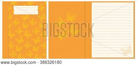 Colorful Cover Design With  Contour Drawing Seamless Pattern Yellow Butterflies For Decorate Noteboo