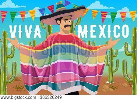 Viva Mexico Vector Design Of Mexican Man Cartoon Character With Sombrero Hat, Moustache, Serape, Cac