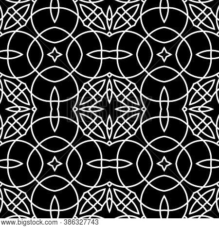 Seamless Surface Pattern With Crossing Figures. Symmetric Abstract Background. Circular Ornament Wal