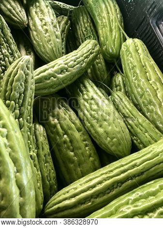 Organic Bitter Melon Or Bitter Gourd Unique Vegetable Fruit.
